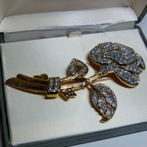 Glamour Collection NOLAN MILLER The Pave Rose Pin Brooch Mint in Box wit... - $26.71