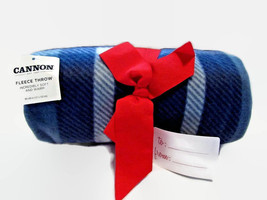 Cannon Blue Plaid Fleece Throw Blanket 50 X 60 Inches Gift Quality New - $12.59