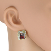UNITED ELEGANCE Princess Cut Faux Ruby Earrings With Swarovski Style Crystals - $24.99