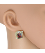 UNITED ELEGANCE Princess Cut Faux Ruby Earrings With Swarovski Style Cry... - $24.99