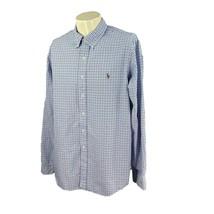 Ralph Lauren Polo Men's Long Sleeve 100% Cotton Blue White Check Oxford ... - $19.78