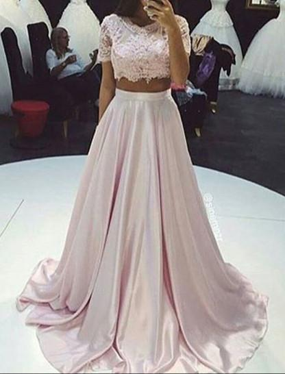 short sleeves Prom Dress,Prom Dress,two pieces Prom Dress,A-line Prom Dresses