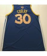 Golden State Warriors Stephen Curry #30 NBA Finals Blue Gold Swingman Je... - $39.59