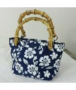 Honolua Surf Co Small Blue Hawaiian Hibiscus Handbag Double Bamboo Handles  - $23.75