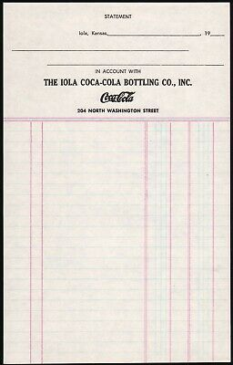 Primary image for Vintage receipt IOLA COCA-COLA BOTTLING CO Kansas unused new old stock n-mint+
