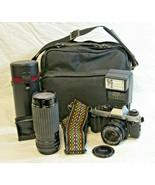 Konica FT-1 Motor SLR Film Camera UNTESTED Bag Accessories Sigma Zoom 2 ... - $69.99