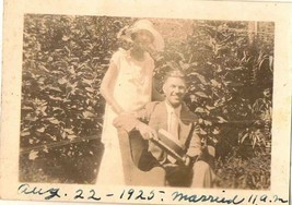 Antique Vintage Photograph Man and Woman Standing in the Garden 1925 - $5.35
