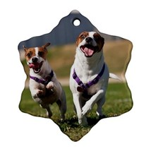 Happy Jack Russell Puppy Puppies Dogs (Snowflake) Ornaments Decoration C... - $4.39
