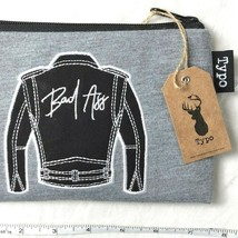 Bad Ass Zippered Pencil Case Makeup Pouch by Typo Embroidered Jacket Log... - $19.30