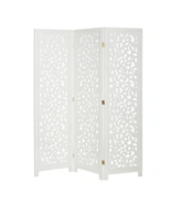 3 Panel Solid Wood Screen Room Divider, White Color With Decorative Cutouts - $125.00