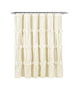 Fabric Shower Curtains Lush Decor Ruched Shower Curtain 72 x 72 Unboxed ... - $42.56
