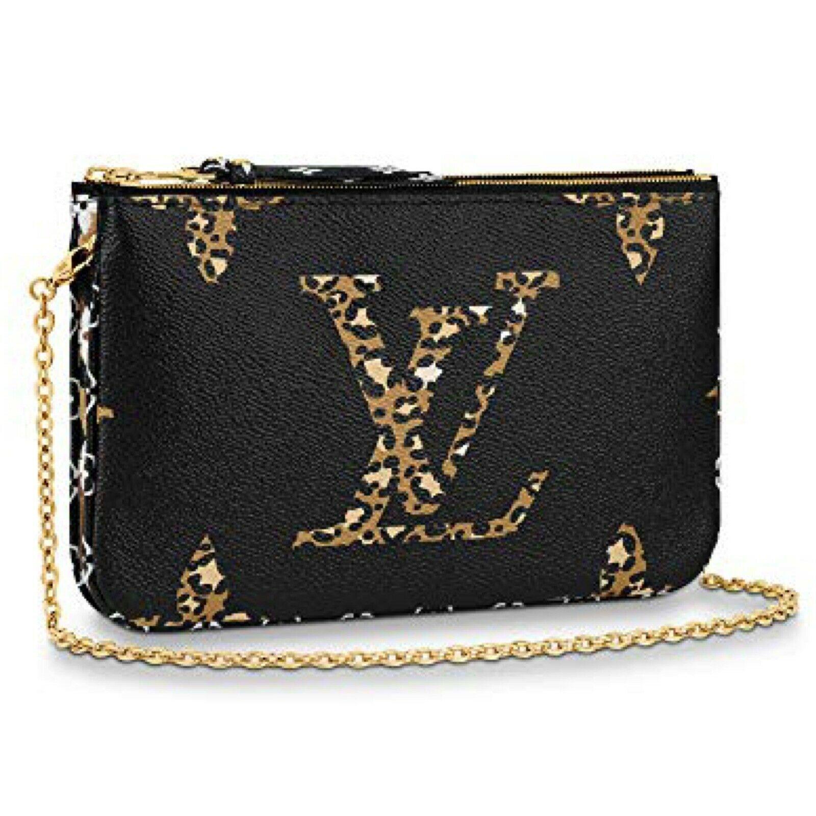 NEW Louis Vuitton Pochette Double Zip Black Jungle Giant Monogram Crossbody Bag