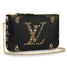 NEW Louis Vuitton Pochette Double Zip Black Jungle Giant Monogram Crossb... - $1,560.93