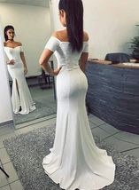 Simple Mermaid Off-The-Shoulder Split Front White Long Prom Dress M2626 - $199.00