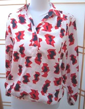 Vintage Da Rue Of California red white and blue Mod print Blouse Sz 8  - $19.77
