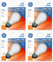 Lot of 4 GE 99461 A15 Incandescent A-Line Ceiling Fan Bulb Soft White 355 Lumens