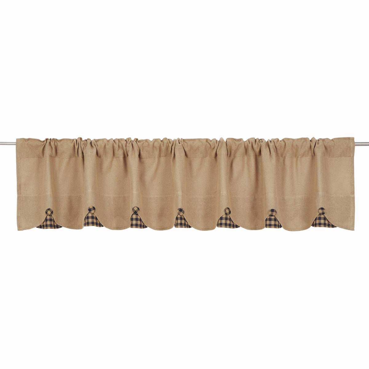 BURLAP NATURAL Valance w/Black Check - 16x90 - Country Farmhouse - VHC Brands