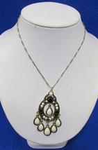 Macys Q3 Necklace & Tear Drop Pendant Gold Tone Metal Black & Cream Beads NOS - $12.22