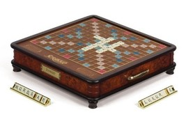 Scrabble Luxury Edition Board Game - Wooden Cabinet, Raised Grid, Storag... - $351.19