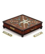 Scrabble Luxury Edition Board Game - Wooden Cabinet, Raised Grid, Storage Drawer - $446.98