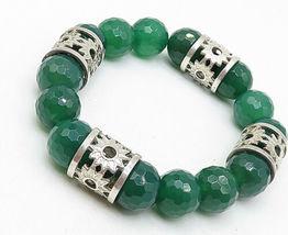 925 Silver - Vintage Faceted Jade Floral Pattern Heavy Beaded Bracelet - B4871 image 3