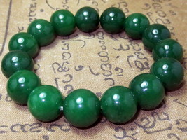 So Rare! Magic Dark Green Jade Bracelet Top Charm Powerful Thai Buddha Amulets - $7.99