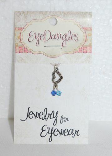 Eye Dangles Jewelry Eyewear Silver Heart Light Dark Dangling Blue Crystals
