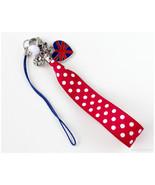Union Jack Phone Charm, Polka Dot Ribbon, Burgundy Red, England Flag, Sw... - $12.00