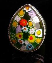 designer Millefior huge faceted ring - eerie green glass - signed Alan K... - $125.00