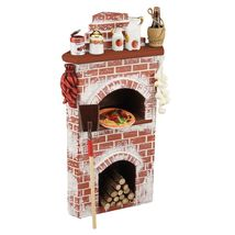 Dollhouse Filled Corner Pizza Oven Display 1.857/2 Reutter Stove Miniature - $77.38