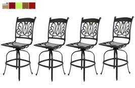 Outdoor Bar Stools Set of 4 Swivels Seat Cast Aluminum Patio Furniture Sunbrella image 1