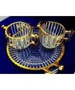 "Jeannette Glass Co ""National"" 1940 Gold edge Depression Crystal Cream su... - $14.74"