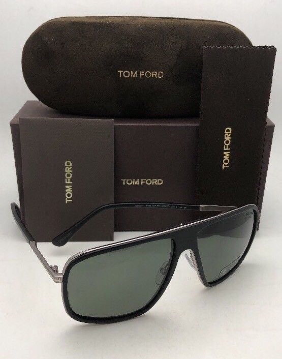 eb4e6646c7c Polarized TOM FORD Sunglasses QUENTIN TF 463 02R 60-13 Black Frames Green  Lenses