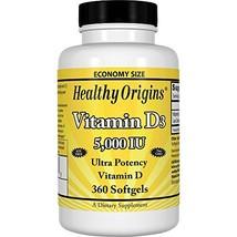 Healthy Origins Vitamin D3 5, 000 IU Non-GMO, 360 Softgels