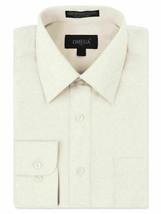 Omega Italy Men's Long Sleeve Solid Barrel Cuff Ivory Dress Shirt - Medium