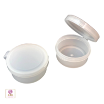 25 Cosmetic Containers Jars Plastic Snap On Hinged Lid  Jars 10 ml Natur... - $22.95