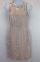 Adrianna Papell Womens Beige Lace Yoke Shimmer Sheath Dress Only Size 2 - $70.13