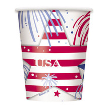 USA Fireworks July 4th Cups 8 ct Hot Cold Paper 9 oz Memorial day - £2.26 GBP