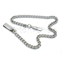 "Silver Plate  Link Pocket Watch Fob Chain 14"" Belt Clip Men Accessory FC54 - $13.04"