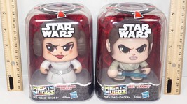 "2 Lot Leia & Rey 3.5"" Toy Figures - Star Wars Mighty Muggs Hasbro 2017 New - $17.94"