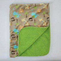 Just Born Tan Green Sherpa Baby Blanket Monkey Elephant Giraffe Lion Tre... - $19.99
