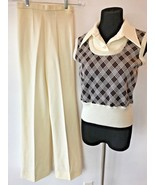 Vintage 1970s JCPenney Pants Sweater Top Dickie Set size 2XS Ivory Brown... - $39.95