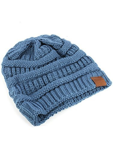 Trendy! Knit Beanie Cap Winter Hat (Blue)