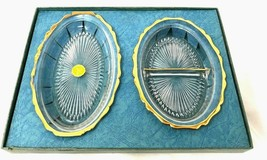Vintage Jeanette glass 2 candy nut dish set gold - $22.49