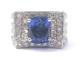 Natural Cushion Tanzanite & Diamond Ring 18Kt White Gold 4.50Ct AAAA/VS - $3,267.00