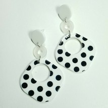 E0056 White Tone Acrylic Black Polka Dot Round Rhombus Drop Dangle Post ... - $7.49