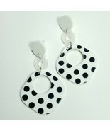 E0056 White Tone Acrylic Black Polka Dot Round Rhombus Drop Dangle Post ... - £5.49 GBP