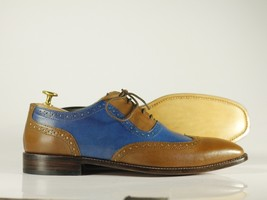 Handmade Brown & Blue Leather Wing Tip Dress/Formal Oxford Shoes image 4