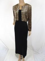 Vintage EXPO Petite Size 8P Velvet Maxi Dress & Shrug Animal Print Metal... - $25.64