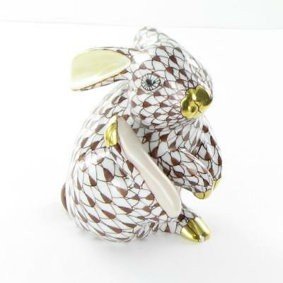 """Herend Scratching Bunny Chocolate Fishnet Hungary Porcelain 3"""" New VHBR2-15387"""